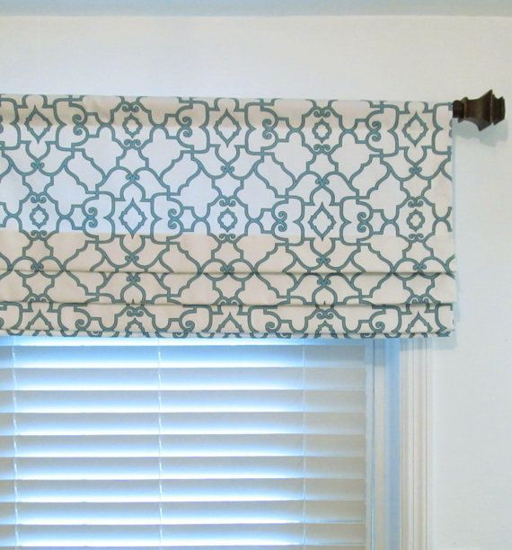 Custom Faux Roman Shade Ivory Blue Mock Valance Fake Shades You Choose The