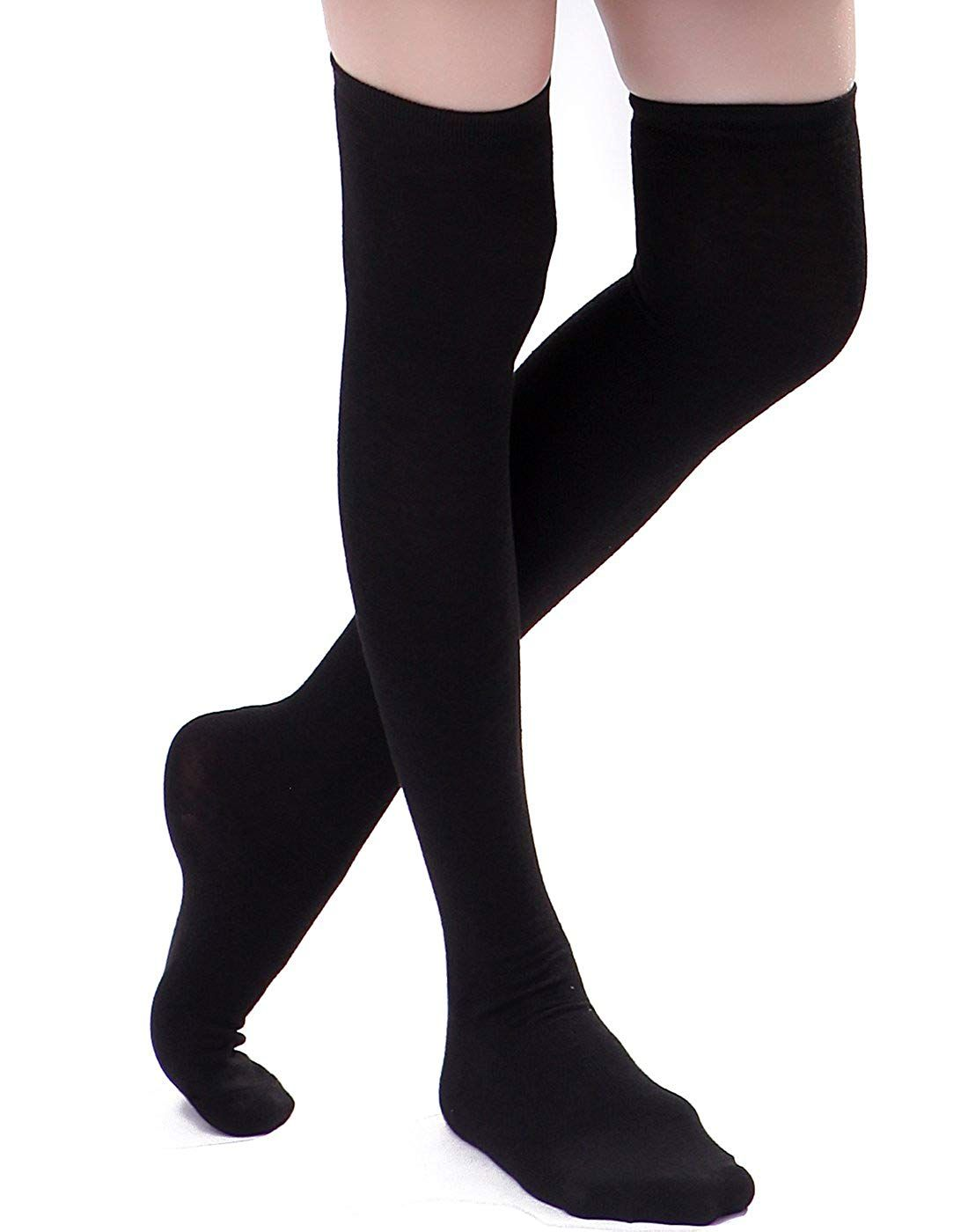 dfcf25092 HDE Women s Knee High Stockings Solid Color Opaque Cotton Spandex Fashion  Socks at Amazon Women s Clothing store