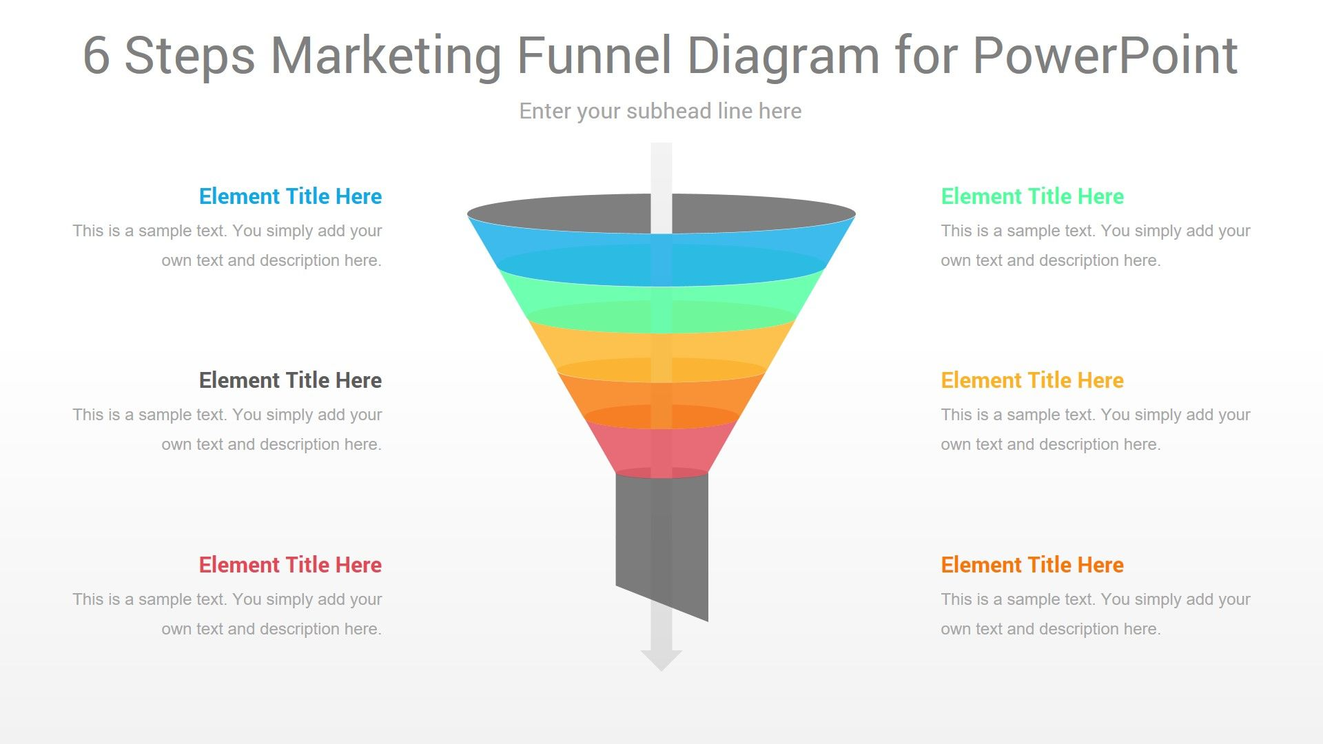 6 Steps Marketing Funnel Powerpoint Diagram In 2020 Infographic Powerpoint Marketing Funnel