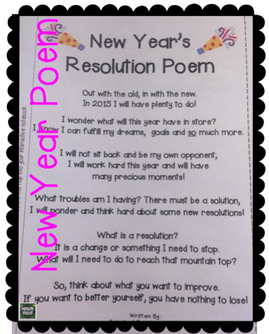 Great Poem For Introducing The Concept Of Resolutions