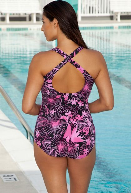 a8d750853a Chlorine Resistant! Aquabelle Pink Floral Plus Size Cross Back Swimsuit  rear view. Perfect for water swim classes!