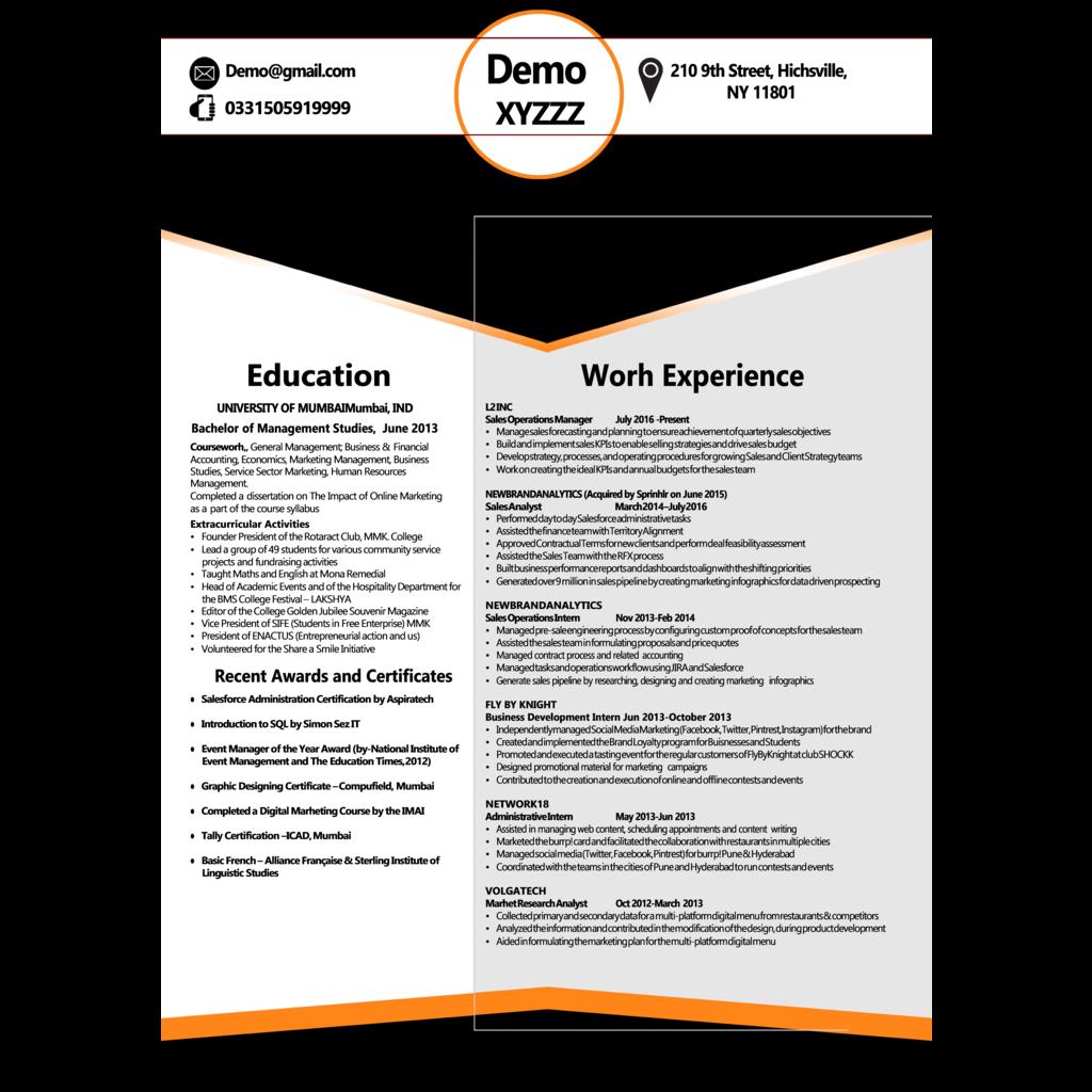White and Black Resume Template   Microsoft Word Creative Resume ...