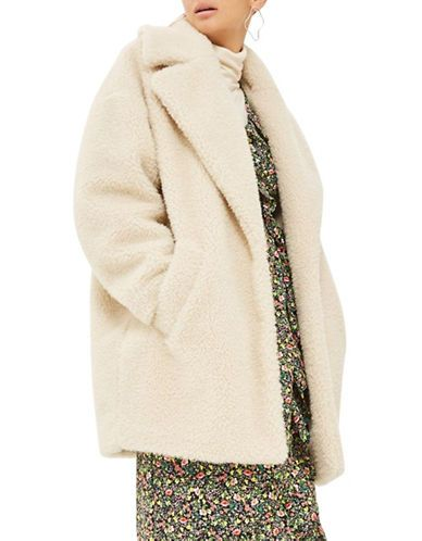 81c0bd7044 TOPSHOP Borg Faux Fur Cocoon Coat | Stuff I Want | Faux fur, Coat ...
