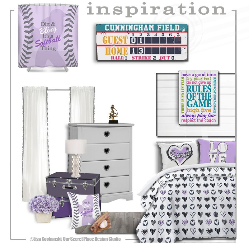 Fabulous Girls Sports Theme Bedroom Idea Softball Room Decor Bedding Scoreboard Sign