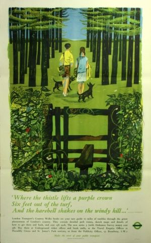 London Transport country walks, 1958 - original vintage poster by Robert Turner listed on AntikBar.co.uk