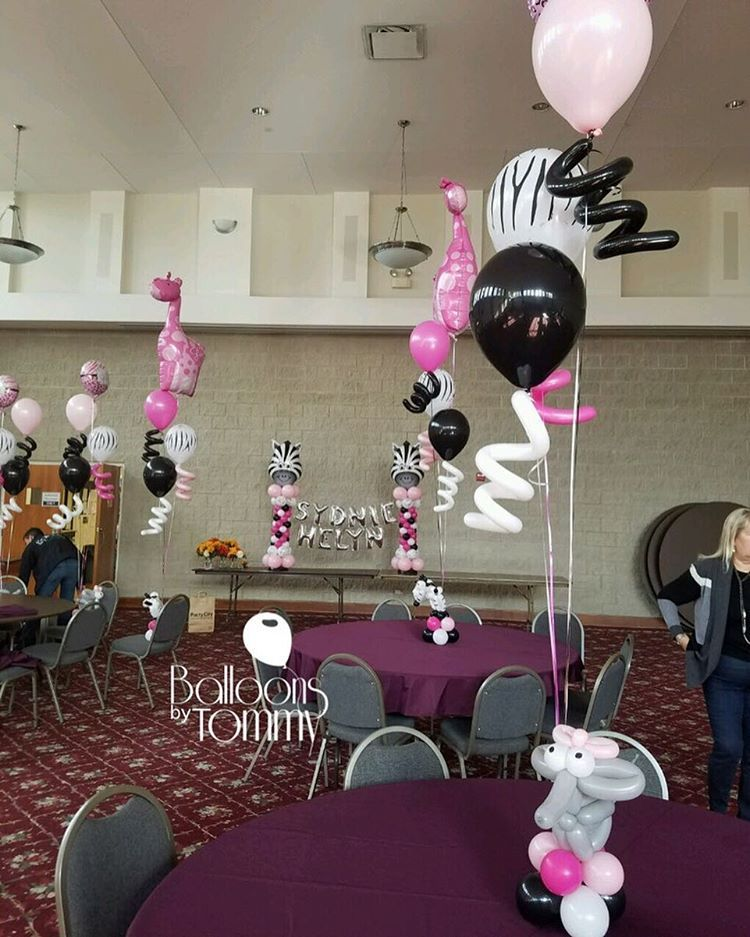 Animal themed baby shower with a pink