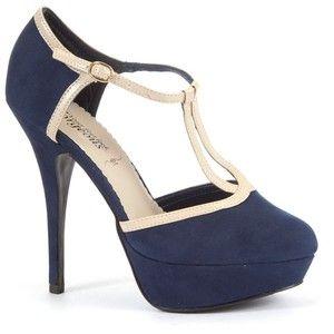 Navy and Cream T-bar platform Heels   Shoes   Pinterest   Platform ...
