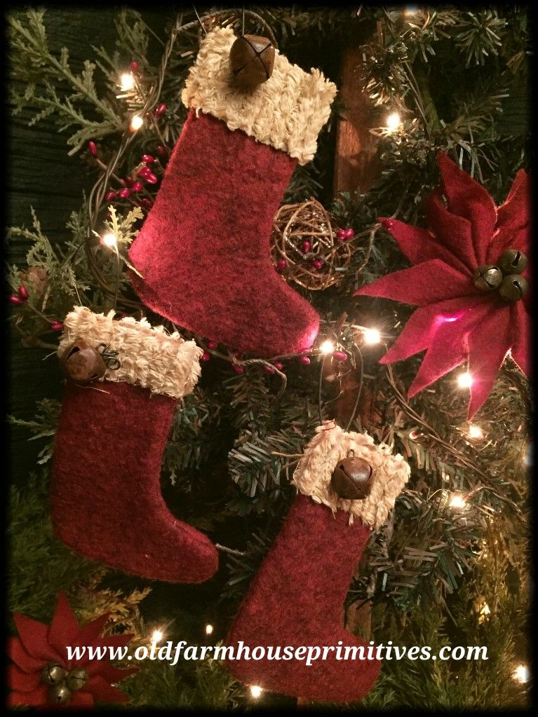 Bh1 Primitive Christmas Stocking Ornaments Made In Usa Primitive Christmas Ornaments Rustic Christmas Stocking Christmas Tree Crafts Diy