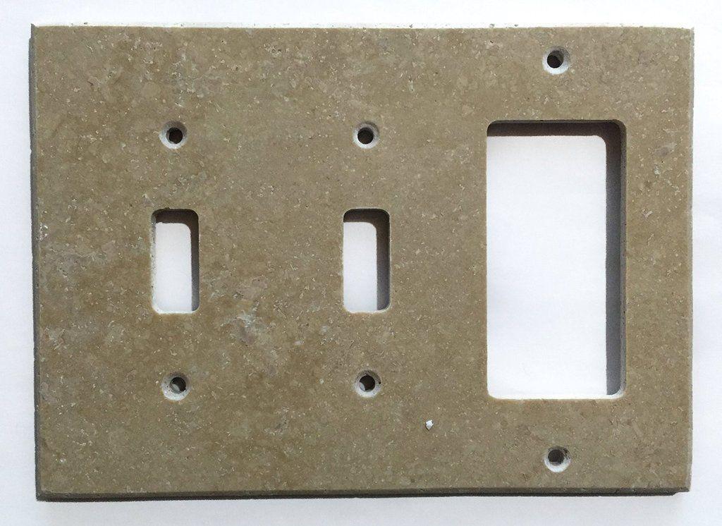 Light Walnut Travertine Double Toggle Rocker Switch Wall Plate