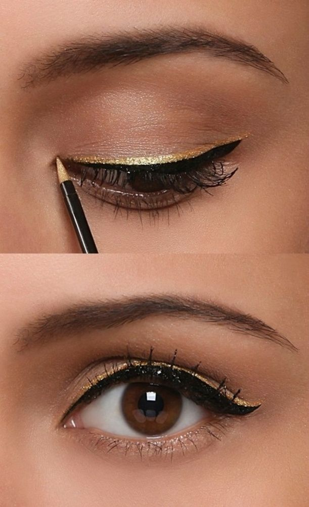 Double Row Gold Eyeliner Heartoverheels Com Gold Eyeliner Eye