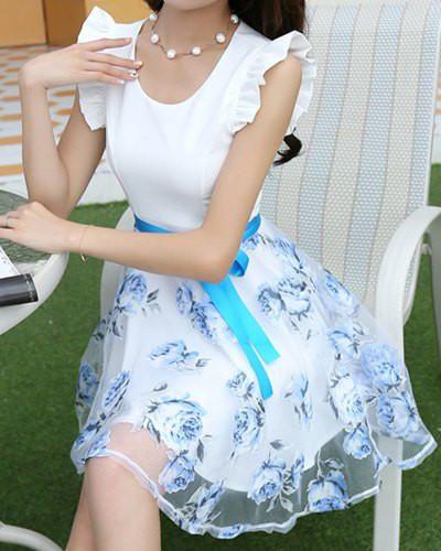 Vestido azul sem mangas com impressão floral Skirt