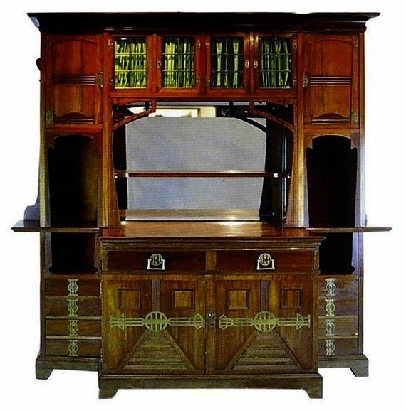 Art Nouveau Arts and Crafts Mahogany Buffet circa 1900 Jugendstil Art Nouveau Arts and Crafts Mahogany Buffet circa 1900 Jugendstil Art Nouveau Arts and Crafts Mahogany B...
