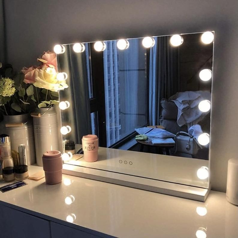 Large Hollywood Vanity Mirror With Lights Etsy In 2021 Light Bulbs Bulb Lighted