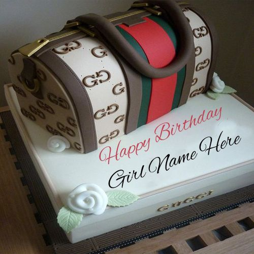 Write Name On Hand Bag Birthday Cake For Girls Online Freehandbagcake Birthdaycake