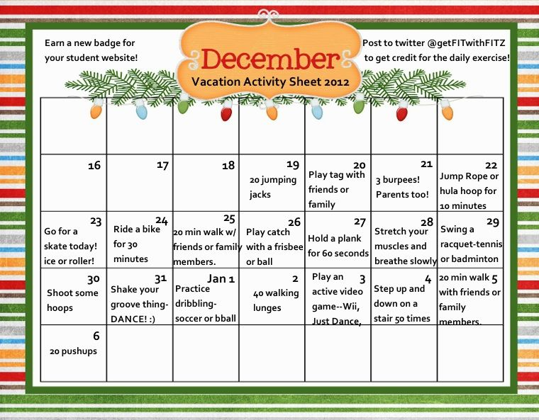 Christmas vacation activity sheet to help students stay active - activity calendar
