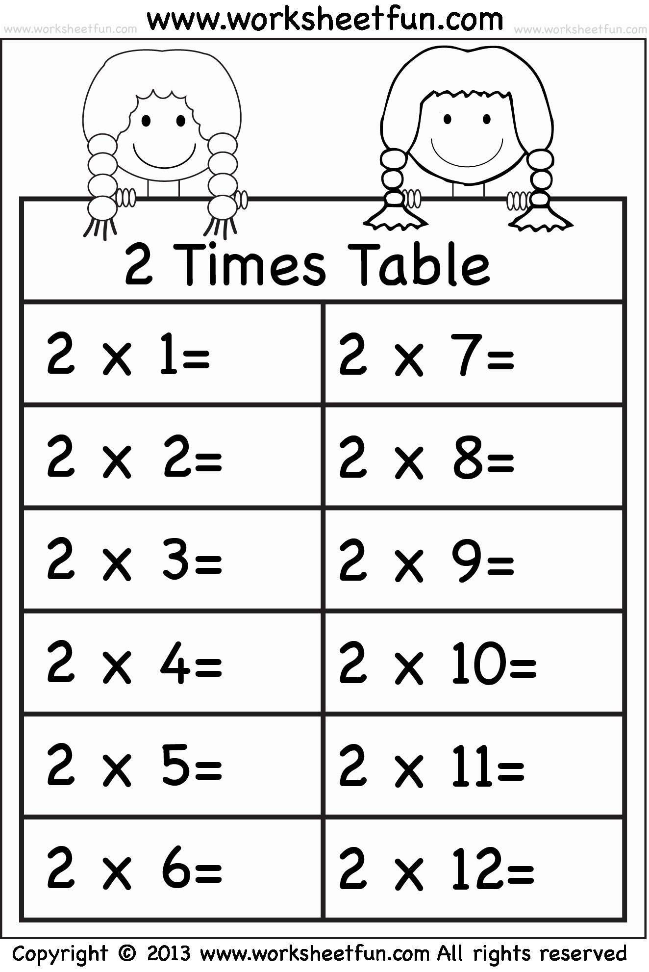 2 Times Table Worksheet Inspirational Times Tables