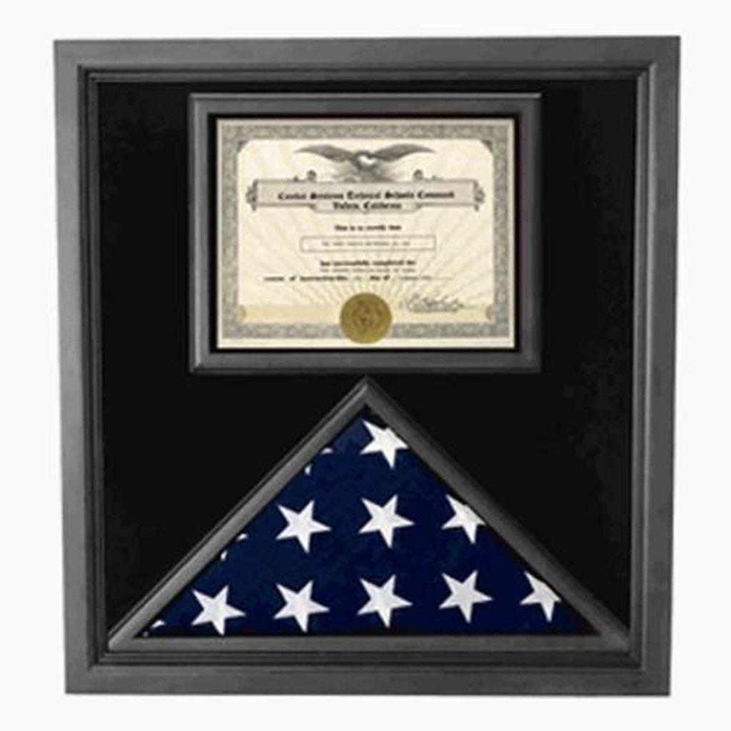 Premium USA-Made Solid wood Flag Document Case Black Finish Hand ...