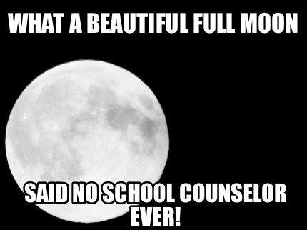 Meme Maker What A Beautiful Full Moon Said No School Counselor Work Quotes Funny Counselor Humor School Humor