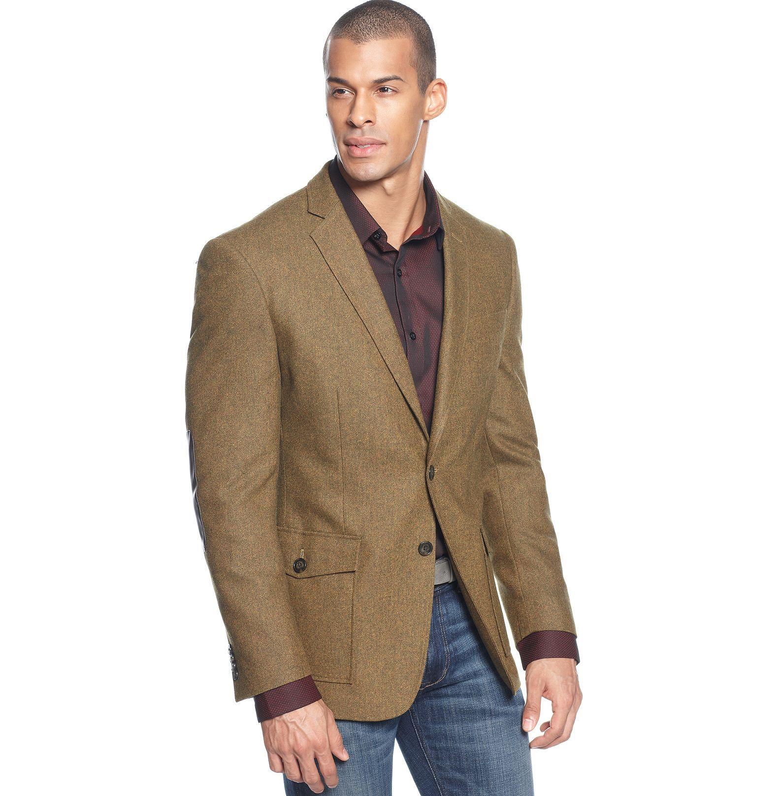 Sean John Jacket, Tweed Blazer with Elbow Patches - Blazers ...