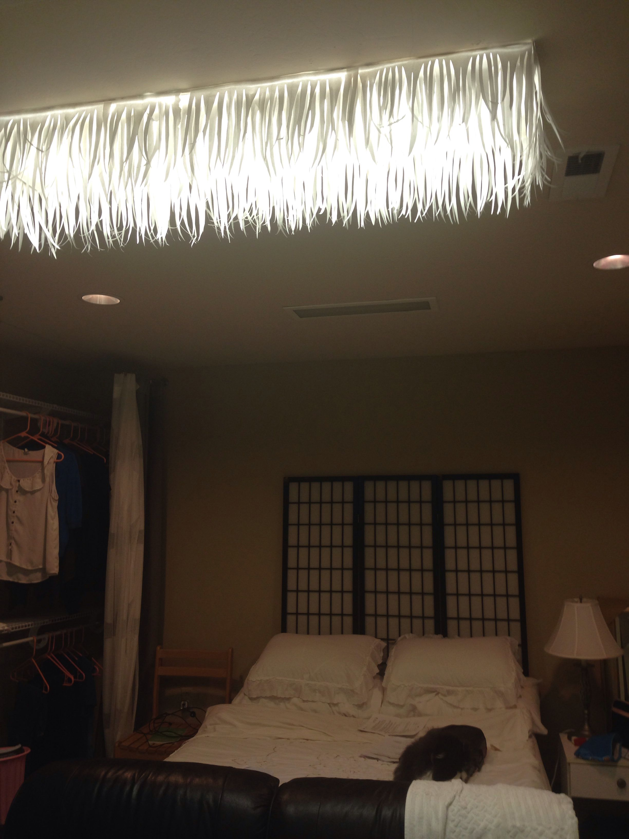 fluorescent light fixtures living room very small ideas covered ugly diy with just printer paper cut in strips
