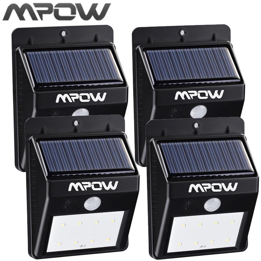Mpow 4 Packs 8 LED Énergie Solaire Lumière de Sécurité