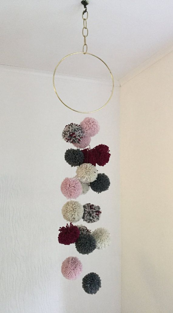 mint and white wool pompom teepee topper garland girls room Pink playroom nursery party