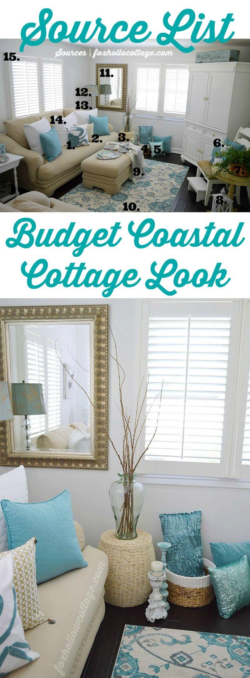 Budget Coastal Cottage Decor Shopping Source List | Fox Hollow Cottage #homegoodshappy #decoratingideas & Coastal Cottage Summer Living Room | Coastal cottage Coastal and ...