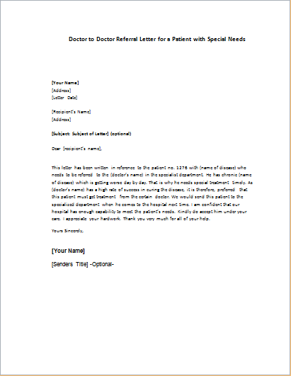 Sample Letter From Doctor About Medical Condition | template