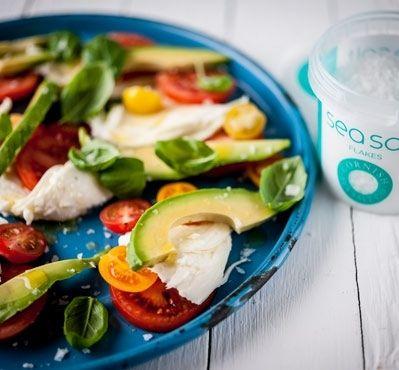 Tomato, Mozarella and Avocado Salad with a sprinkle of Sea Salt Flakes
