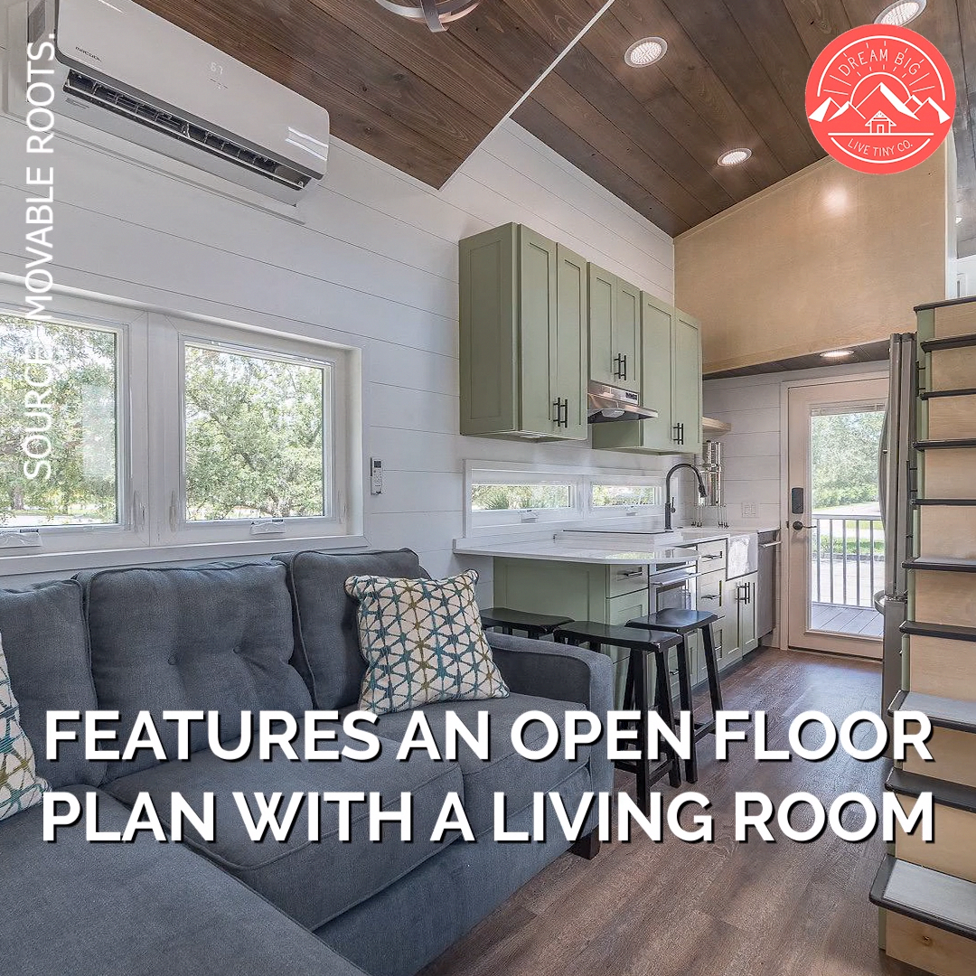 This 42 Tiny House Sleeps Over 6 People It Features An Open Floor Plan With A Living Room A Beauti Tiny House Floor Plans Tiny House Decor Tiny House Living