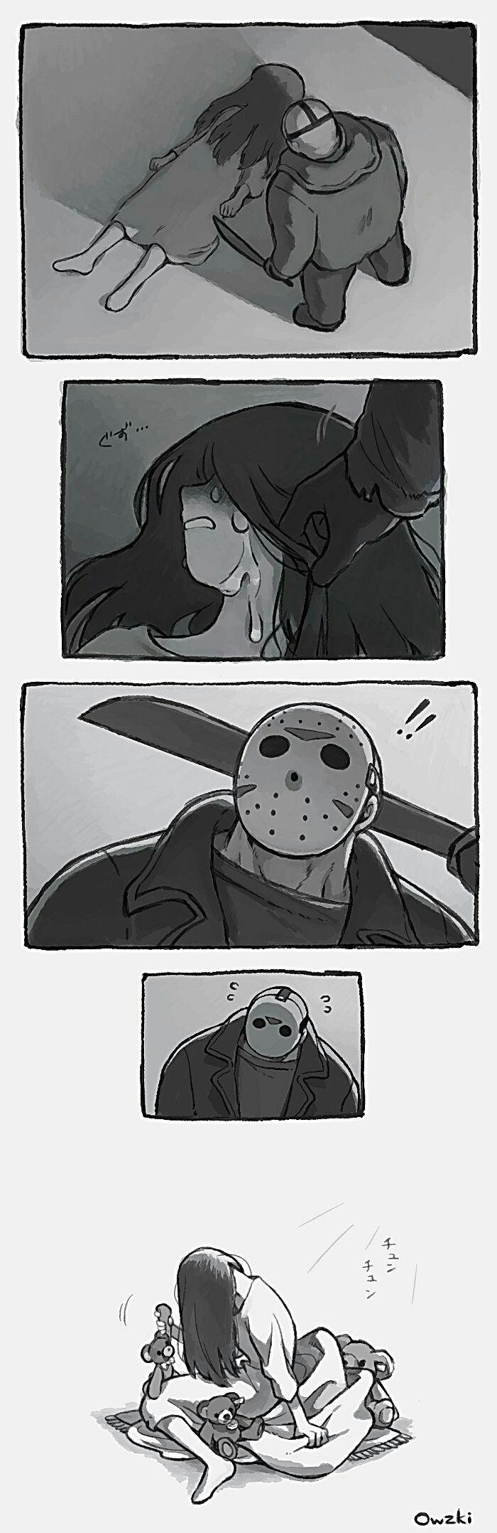 -no teníamos que pelear haci Jason -..... -.... -le quita los mechones de pelo-...