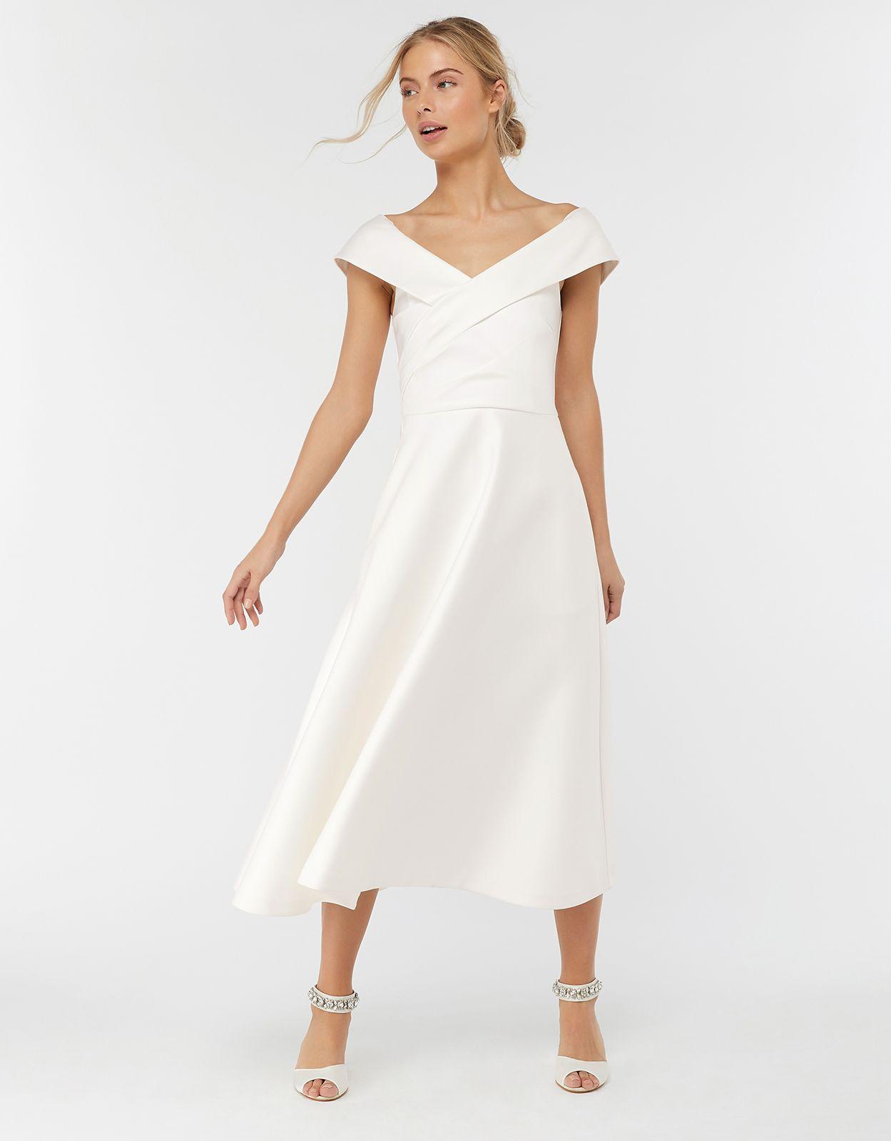 Grace Bardot Midi Wedding Dress Ivory 8 6401164608 Monsoon