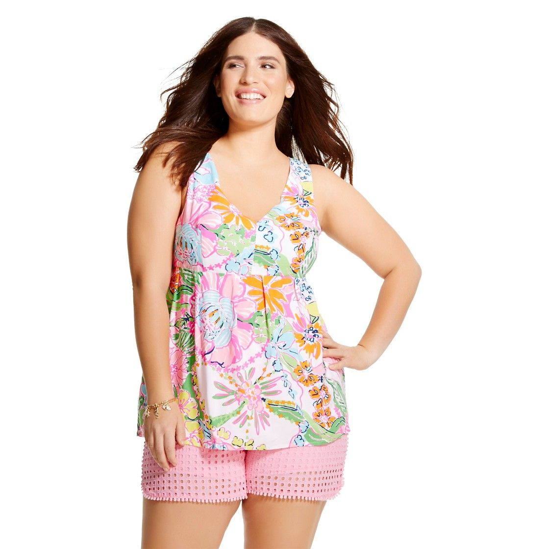 Lilly Pulitzer For Target Womens Plus Size V Neck Tank Top Nosie
