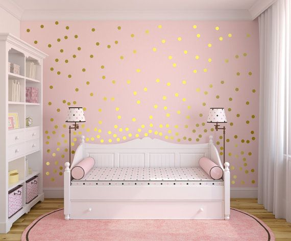 Metallic Gold Wall Decals Polka Dot Wall Sticker Decor Etsy Polka Dot Wall Decor Gold Wall Decals Girl Room