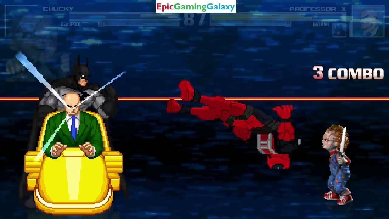 Batman And Professor X VS Chucky The Killer Doll Deadpool In A MUGEN Match