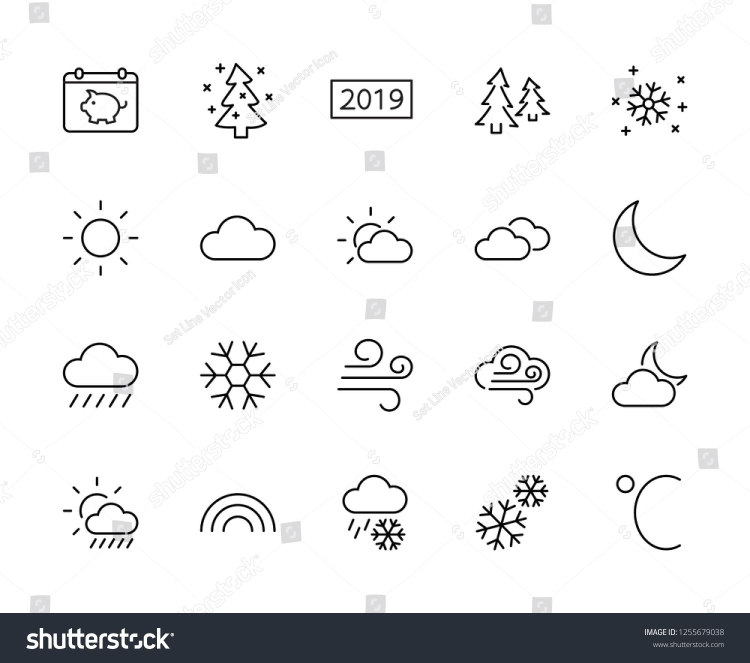 Set of weather vector line icons  Contains symbols of the