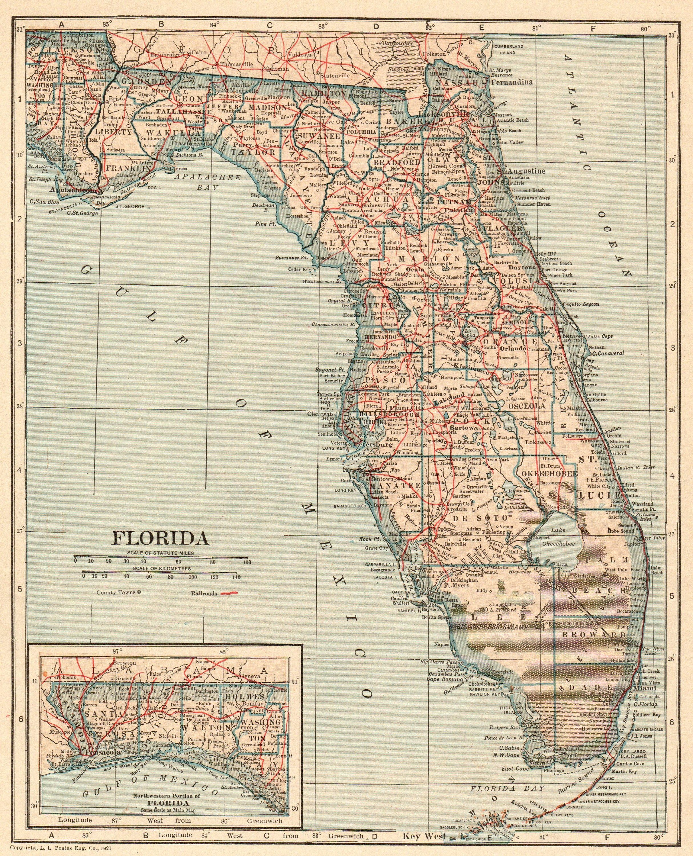 Map State Of Florida.Antique Florida Map 1921 Vintage State Map Of Florida Gallery Wall