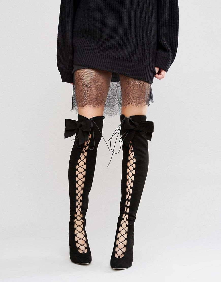 82d98c73b3e7 ASOS+KARI+Bow+Lace+Up+Over+The+Knee+Boots