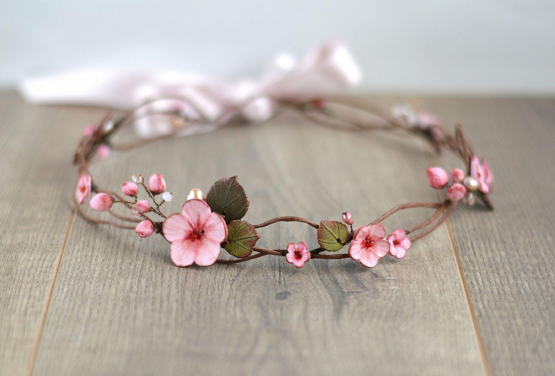 Floral hair wreath Bridal flower crown Sakura wedding crown Cherry blossom hair wreath Sakura bridal crown Woodland hairpiece Flower girl