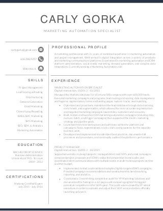 Marketing Automation Specialist Resume - Carly Gorka resumes