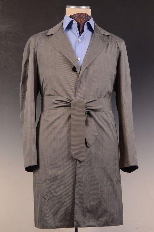 "KITON Napoli Gray Striped ""CIPA 1960"" Silk Spring Jacket Coat EU 46 NEW US 36"