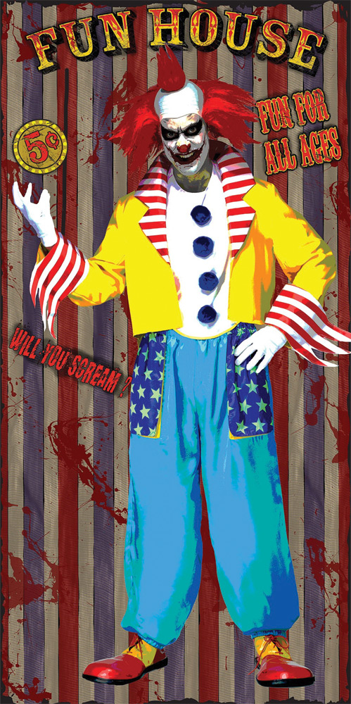 Creepy Clown Fun House Scary Carnival Door Cover Halloween Party Decoration 5ft Halloween Circus Scary Halloween Decorations Cheap Halloween Props