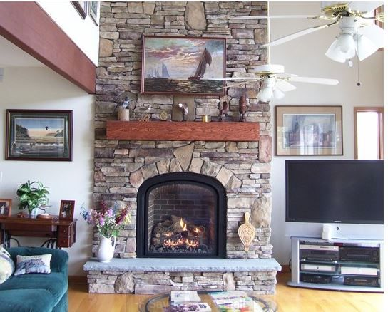 Fireplace. Copying stonework and arch above firebox. This is a mix ...