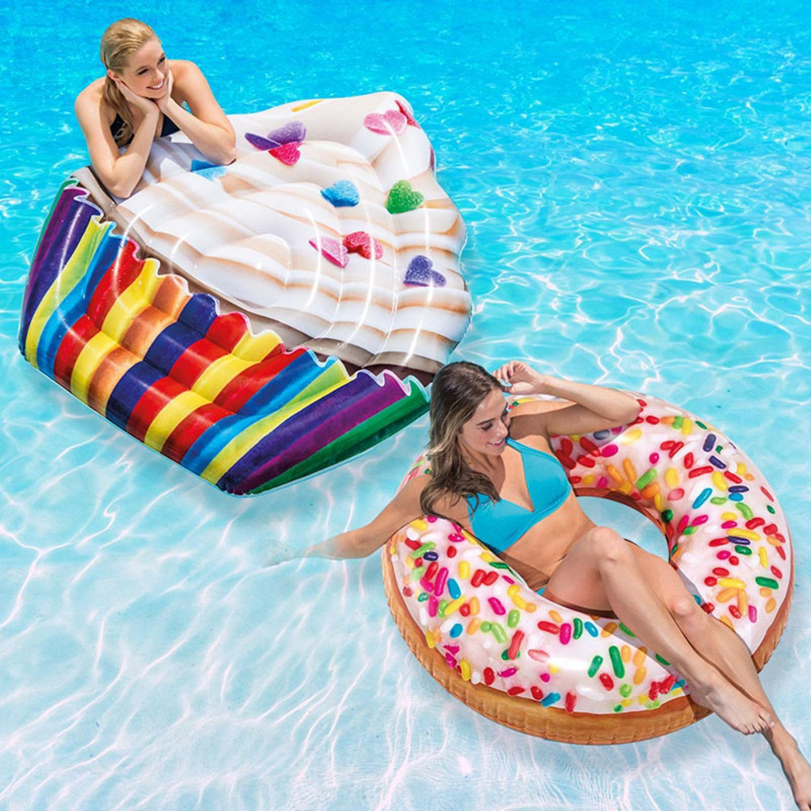 Intex Cupcake Mat and Sprinkle Donut Tube Pool Float Combo ...