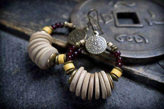 ethnic earrings  bohemian earrings  coco rondelles by entre2et7