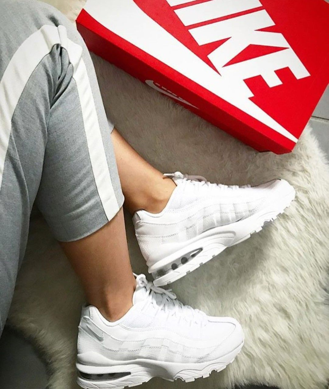 Nike Air Max 95 In White Weiss Foto Fanamss Instagram Nike Air Max Air Max 95 Und Nike Air
