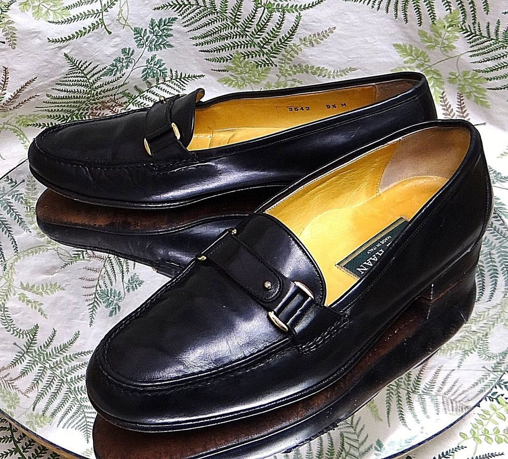 COLE HAAN BLACK LEATHER LOAFERS SLIP ONS BUSINESS DRESS SHOES US MENS SZ 9.5 M