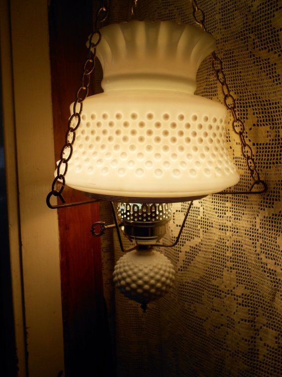 Vintage White Milk glass Hobnail Swag Lamp Fluted Shade ...