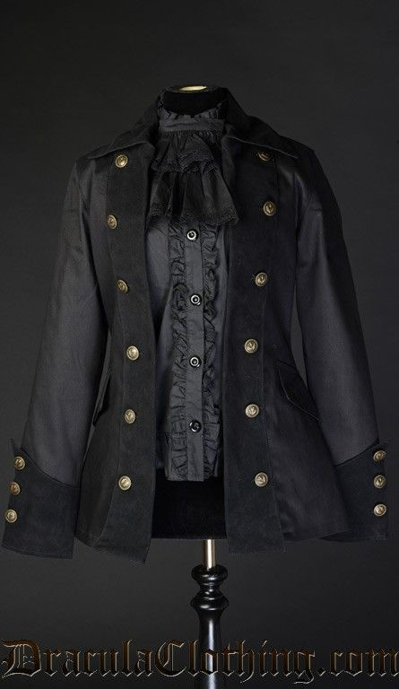 A high quality jacket inspired by pirates and officers, with a female cut. The Pirate Jacket has a thick velvet lapels, cuffs and collar and satin lining<br />