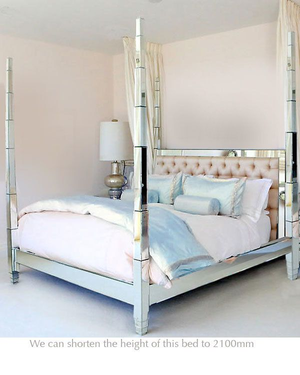Four Poster Mirrored Bed King Four Poster Bed Bed Bedroom Furniture